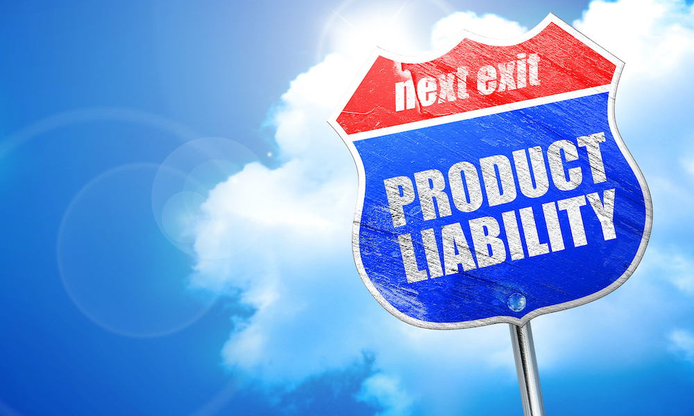 Blog - product liability, 3D rendering, blue street sign